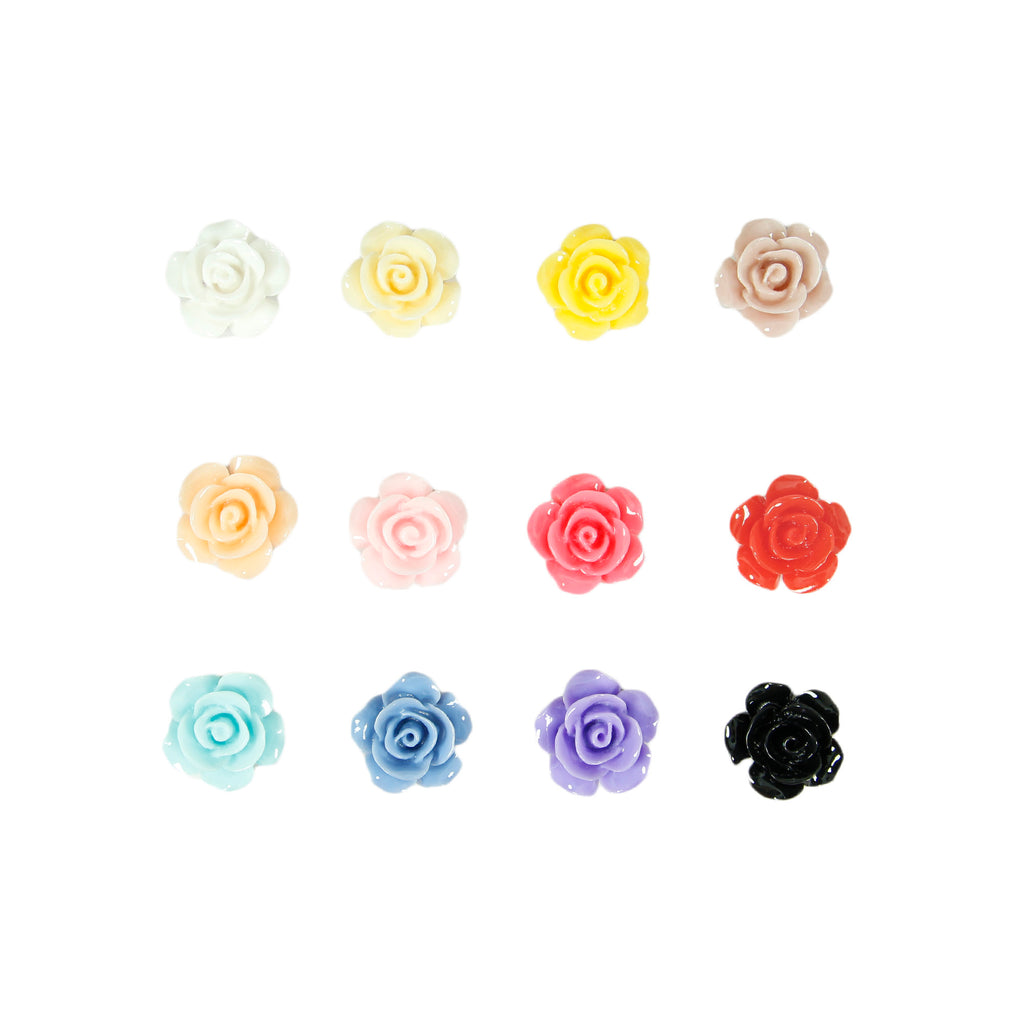 10x Resin Roses Flat Back For Make Up Card Making Craft Gel Nail Art