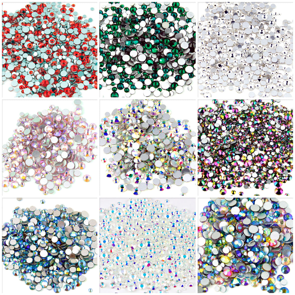 400pcs Small sizes mixed glass rhinestones, choose colours