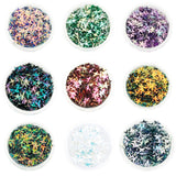 Choice of 12 Colours Duo Chrome 3D Glitter Stars