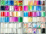 Box of 10 rolls of Nail Art Transfer Foils each 2.5cm x 1m