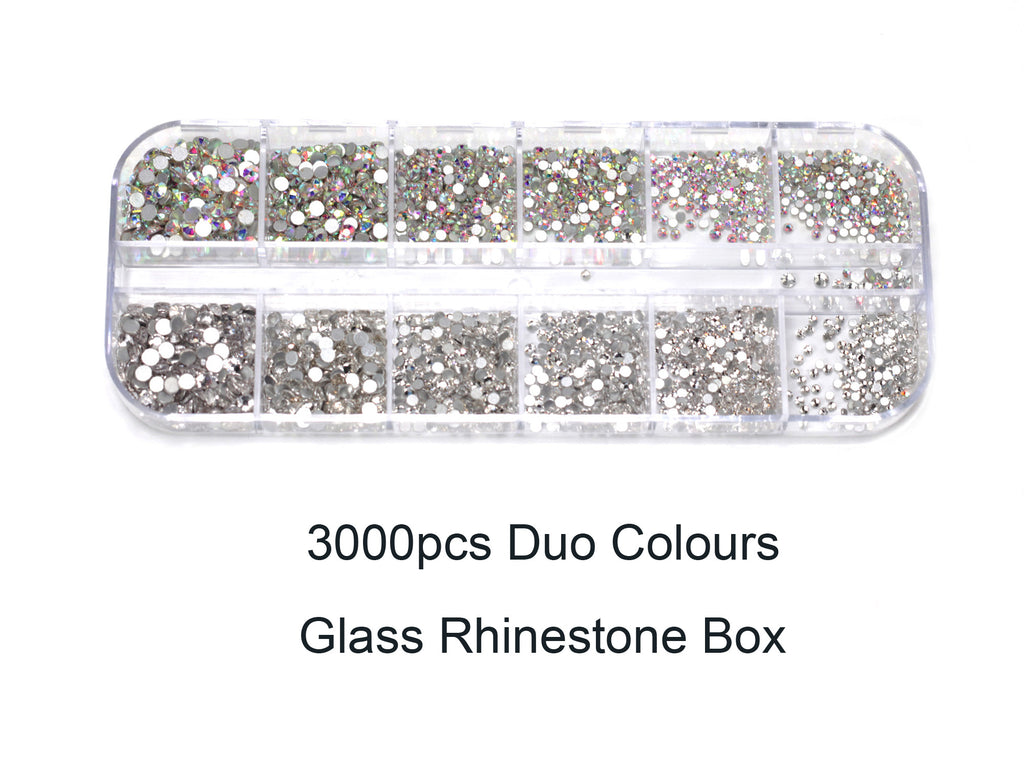 3000pcs Duo Colours Box ss3 - ss10 Nail Art UV Gel Glass Rhinestone Diamante Gem