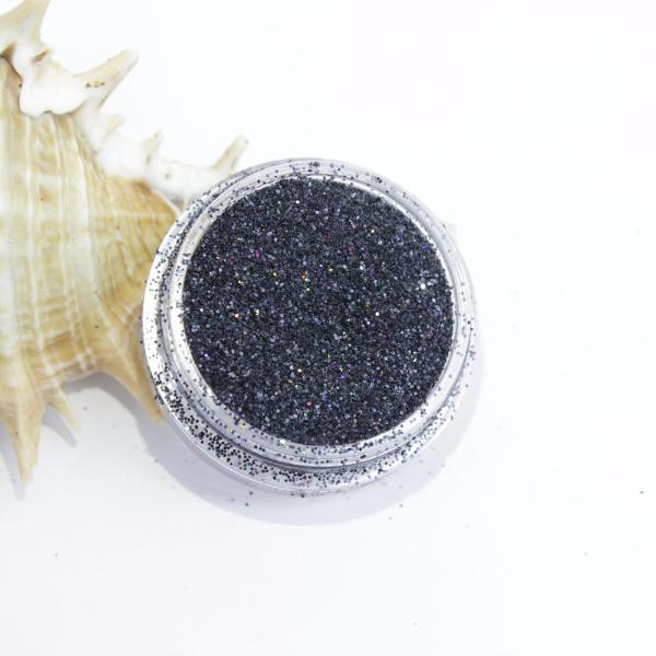 evol holographic black dust face glitter