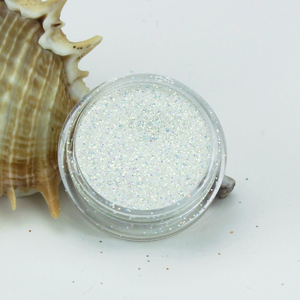 evol white opaque iridescent space dust face glitter