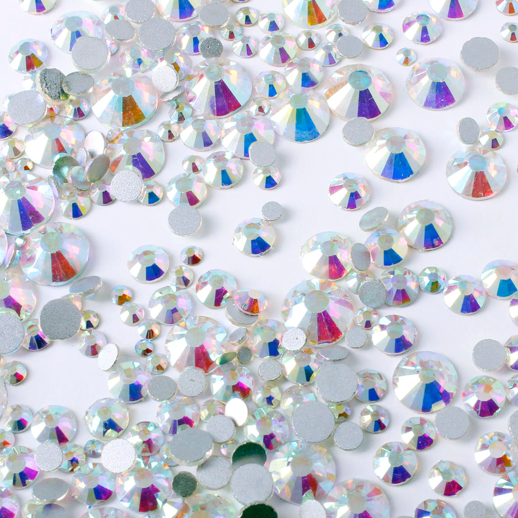 1000pcs Mixed Size 【Iridescent Clear】 Glass Rhinestone Face Gems