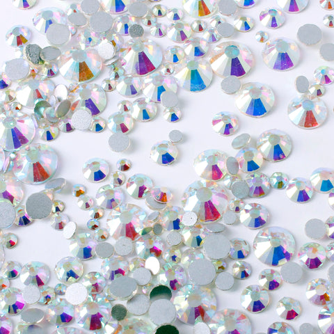 evol 1440pcs clear iridescent glass rhinestone face gems