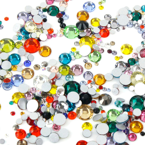 1000pcs Mixed Size 【Mixed Colour】 Glass Rhinestone Face Gems