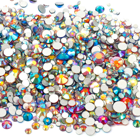1000pcs Mixed Size 【Mixed Iridescent Colour】 Glass Rhinestone Face Gems