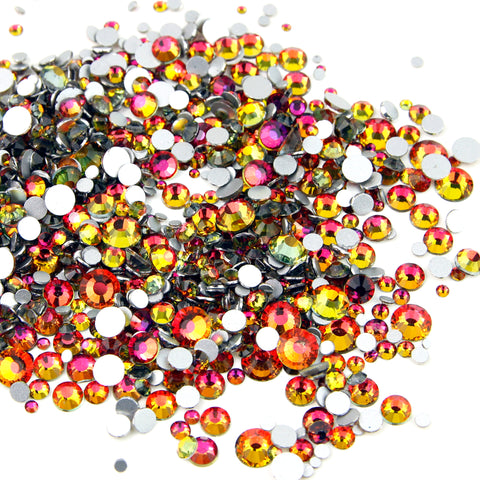 1000pcs Mixed Size 【On Fire】Duochrome Iridescent Glass Rhinestone Face Gems