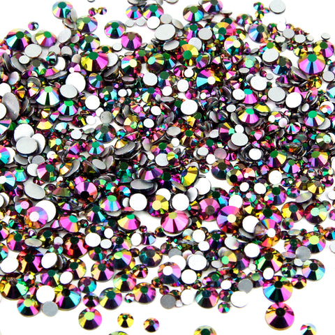 1000pcs Mixed Size 【Rainbow】 Duochrome Iridescent Glass Rhinestone Face Gems