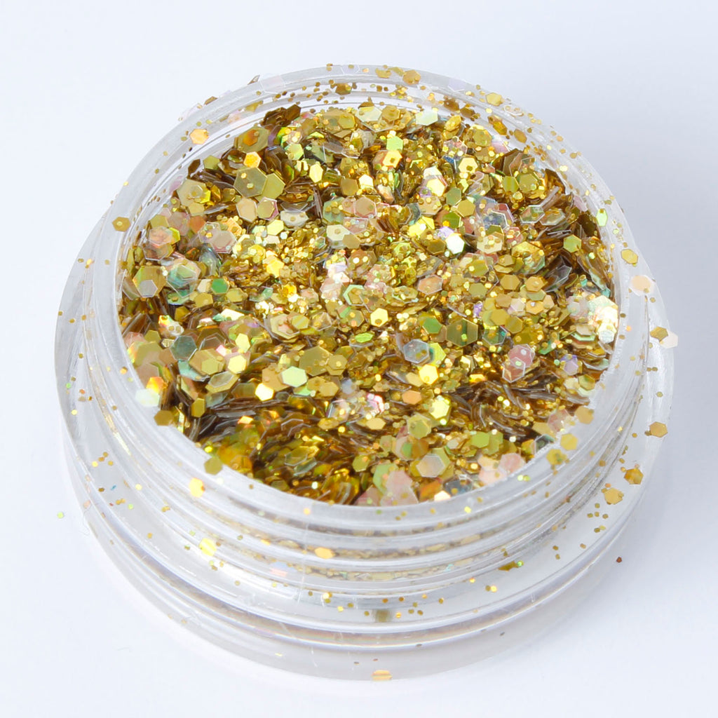 """Holographic Gold"" Fine Cosmetic Glitter Mix in 2g Pot"