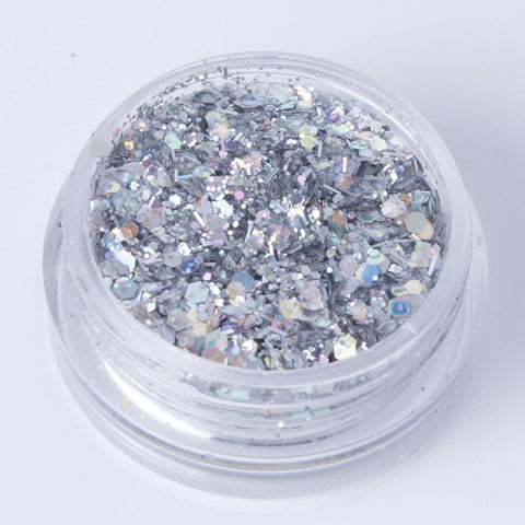 """Holographic Silver"" Fine Cosmetic Glitter Mix in 2g Pot"