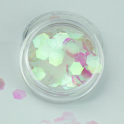 iridescent clear white chunky hexagon festival glitter evol