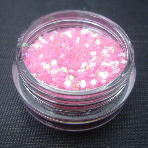 Iridescent Bubblegum Pink 1mm hexagon glitter