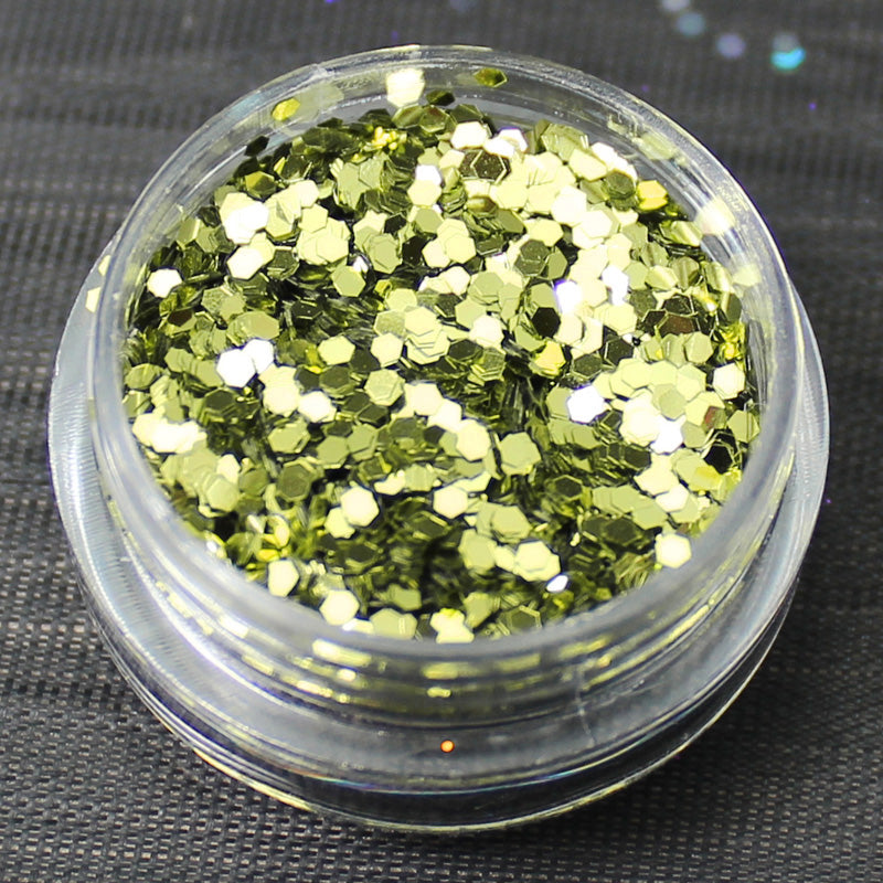 Metallic Lime 1mm hexagon glitter