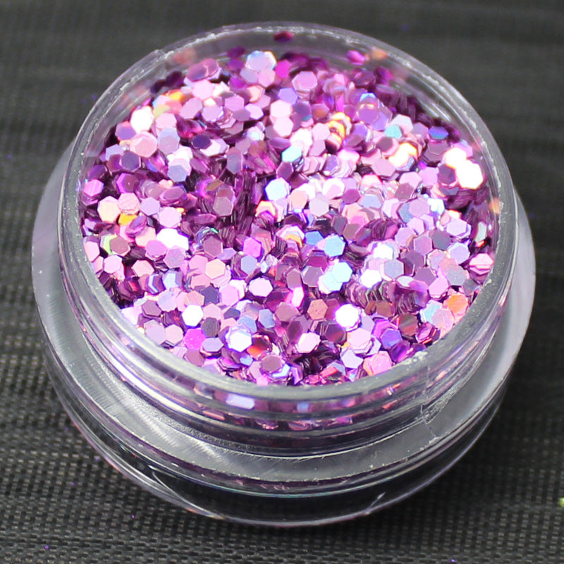 Holographic Pink 1mm hexagon glitter