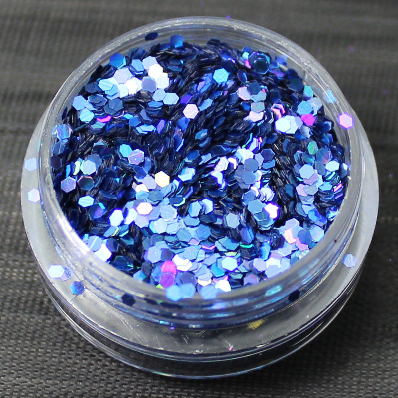 Holographic Blue 1mm hexagon glitter