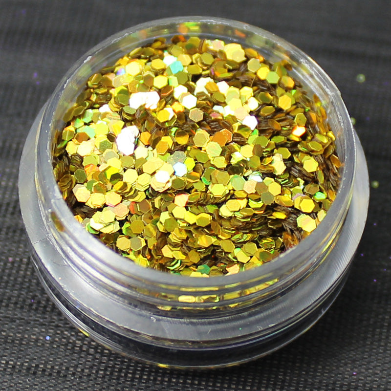 Holographic Gold 1mm hexagon glitter