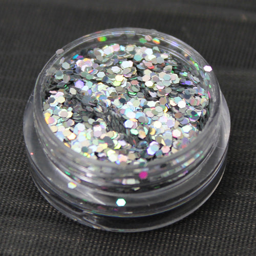 Holographic Silver 1mm hexagon glitter