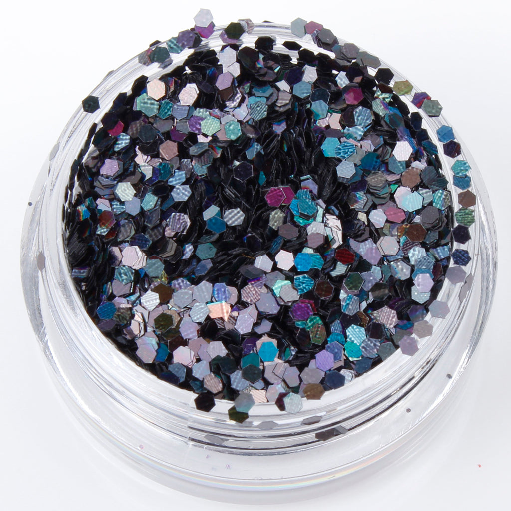 Holographic Black 1mm hexagon glitter