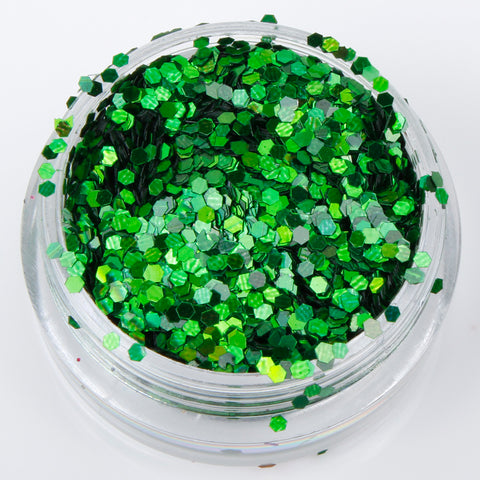 Holographic Green 1mm hexagon glitter