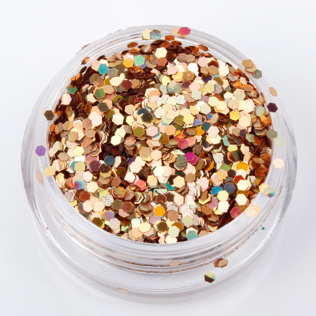 Holographic Gold Ore 1mm hexagon glitter