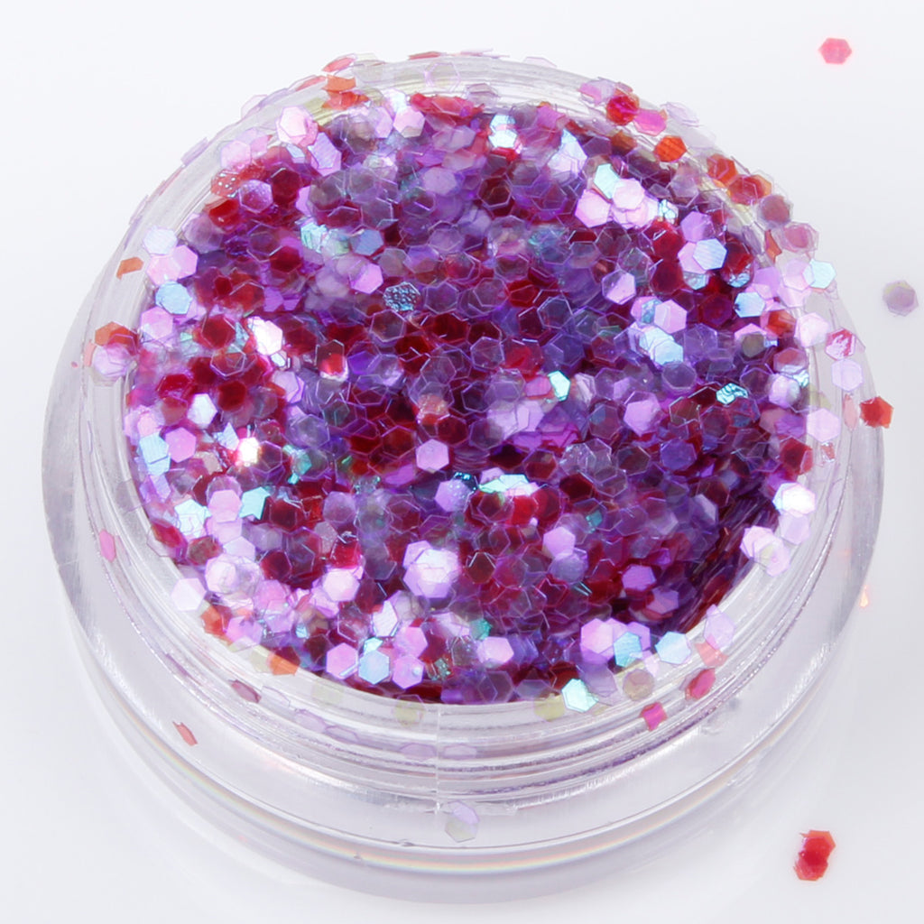 Iridescent Dark Mauve 1mm hexagon glitter