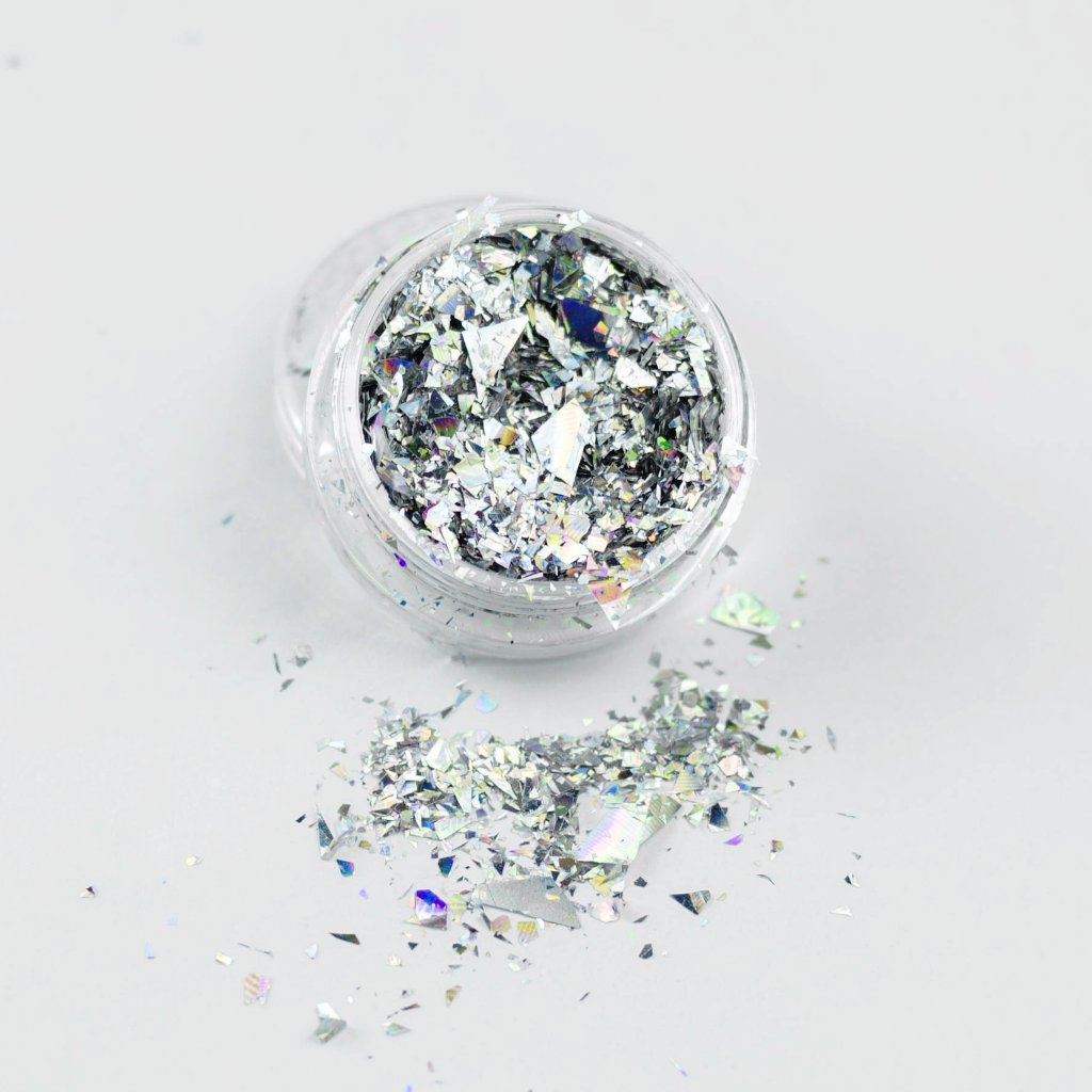 """Holographic Silver"" Ice Flakes Cosmetic Glitter Pot"