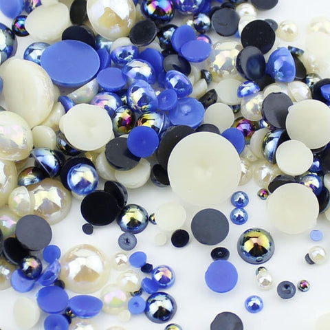 """Milky Way"" 15g Mixed Size Bag of Flat Back Pearl Face Gems"