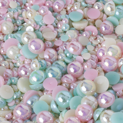 pastel mixed size and colour flat back pearl mix evol
