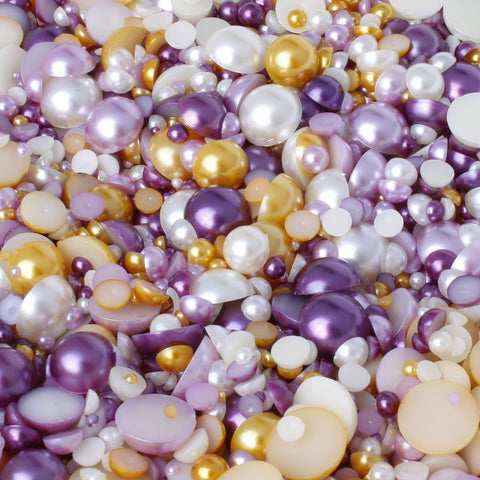"""Rapunzel"" 15g Mixed Size Bag of Flat Back Pearl Face Gems"