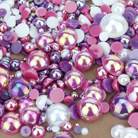 evol raspberry ripple flat back pearl face gem mix