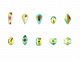 10pcs AB Iridescent Clear Glass High Shine Shapes Flat Back Rhinestone Gems