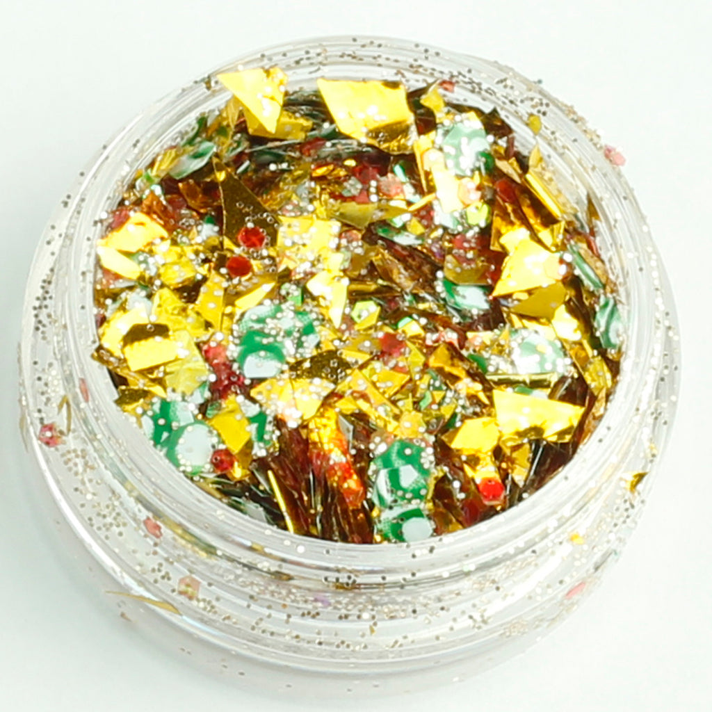 three kings xmas chunky face glitter mix pot