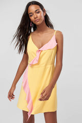 Yellow Binding Detail Dress