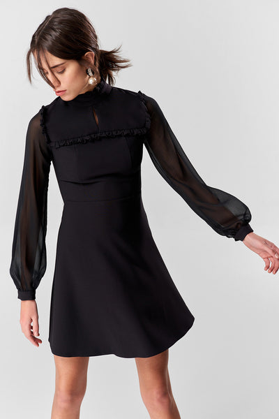 Black Sleeve Chiffon Dress