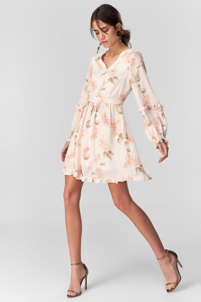 Powder Flower Patterned Dress