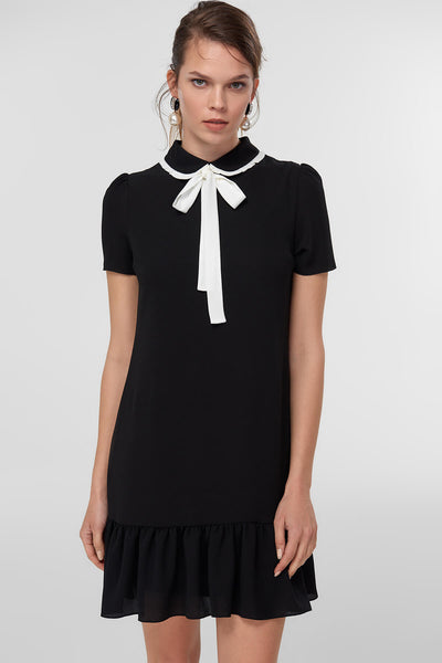 Black Neck Detail Dress