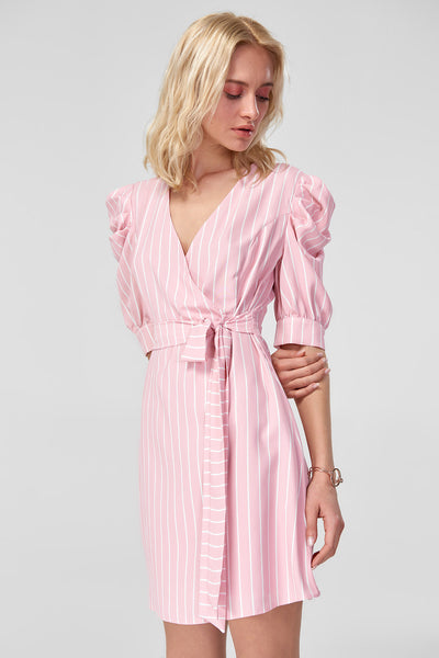 Pink Balloon Sleeve Dress