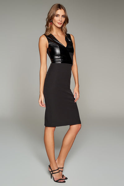 Black Leather Detail Ruffle Collar Dress