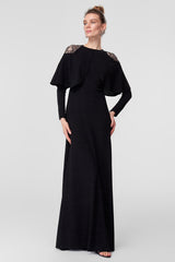 Black Long Dress With lace Details