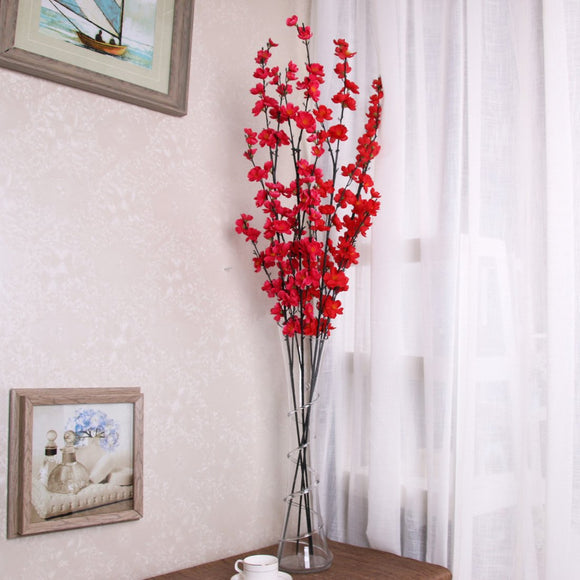VLUNT 5 pcs Long Branch Artificial Flower, Simulation Plum Blossom for Party Office Garden Household Decoration Photography Props - Red