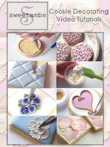 Cookie Decorating Video Tutorials - Lessons 1-20 with Cookie and Icing Recipe - Digital Download
