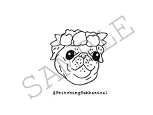Flower Crown Pug Cookie Template by Stitching Sabbatical