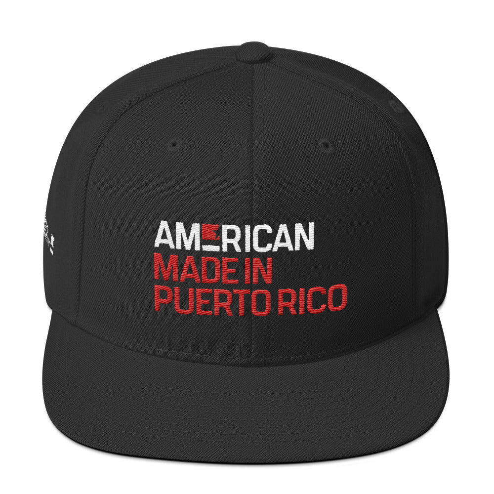 American. Made in Puerto Rico. Snapback.