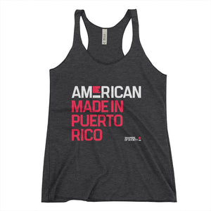 American. Made in Puerto Rico. Women's Racerback Tank