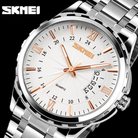 SKMEI Men Fashion Casual Quartz Watch Complete Calendar Relogio Masculino Stainless Steel Watches 30m Waterproof Wristwatches
