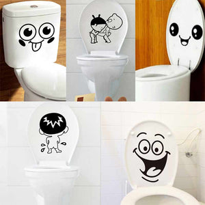Bathroom Wall Stickers Toilet Home Decoration Waterproof Walls Face Decals WC