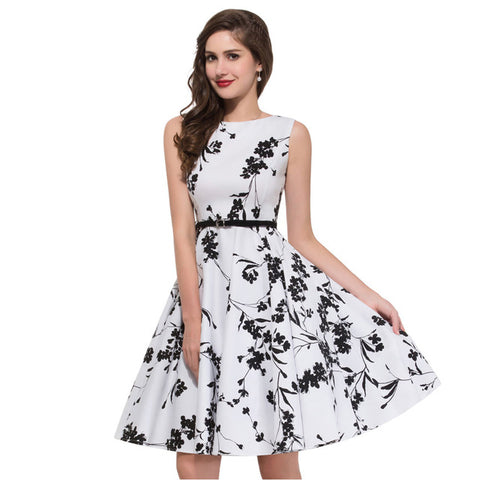 Perfect Women Summer Dress 2017 plus size clothing Audrey hepburn Floral robe Retro Swing Casual 50s Vintage Rockabilly Dresses Vestidos - Best online sale store in USA