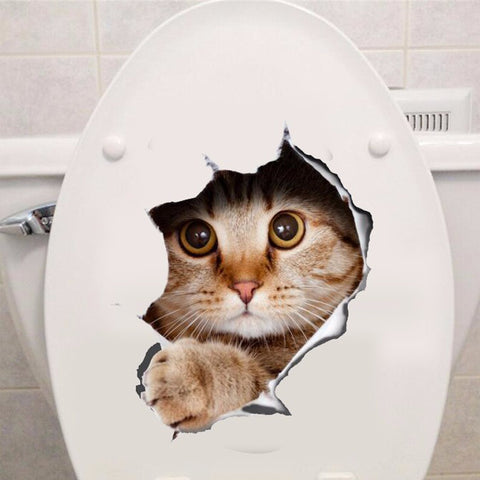 View Hole Vivid Cats 3D Wall Sticker Bathroom Toilet Living Room Decor Stickers