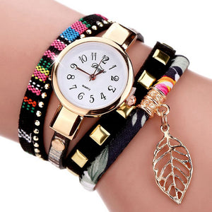 Women Dress Luxury Leaf Fabric Gold Wrist Watch Bracelet Vintage Sport Clock Watch